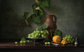 Picture the dark background, table, orange, grapes, bunch, pitcher, still life, vine