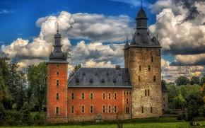 Picture greens, the sky, grass, clouds, trees, castle, lawn, HDR, cow, Belgium, Castle Beusdael