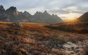 Picture autumn, the sun, rays, landscape, mountains, nature, vegetation, valley, Canada, tundra, Yukon