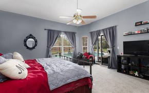 Picture bed, blanket, curtains