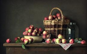 Picture table, basket, apples, still life, Still Life