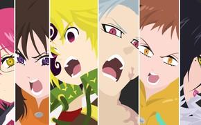 Picture collage, characters, Nanatsu no Taizai, The seven deadly sins