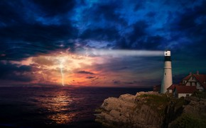 Picture sea, the storm, night, rock, lightning, lighthouse, home