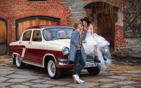Picture machine, auto, girl, retro, guy, lovers, Volga, GAZ-21, Anastasia Barmina