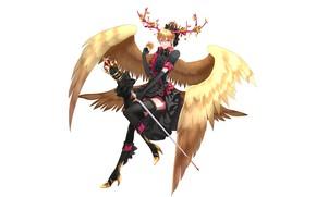 Picture wings, angel, boots, fantasy, art, heels, guy, blonde, by hangahan23