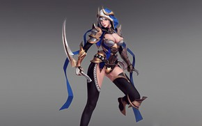 Picture Girl, Fantasy, Art, Assassin, Style, Illustration, Blades, Figure, Character, Daggers, Jeong Chan Jo