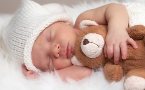 Picture toy, sleep, bear, sleeping, fur, cap, baby