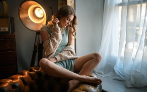 Picture pose, model, lamp, portrait, makeup, dress, hairstyle, brown hair, legs, jacket, sitting, curtain, window, Oliver …