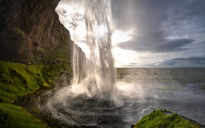 Picture mountains, waterfall, stream, Iceland, tourists