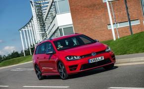 Picture road, red, Volkswagen, universal, 2015, Golf R Estate