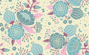 Picture flowers, retro, pattern, seamless