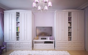 Picture design, room, TV, chandelier, children's, cabinets
