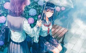 Picture umbrella, bag, Schoolgirls, two girls, blue hair, hydrangea, sailor, on the bench, rainy weather