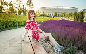 Picture model, redhead, dress red, A Diakov George