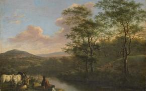 Picture oil, picture, canvas, Italian landscape with a resting shepherd, Willem de Heusch, 1692, Willem de …