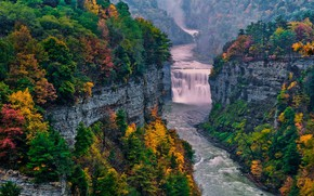 Picture autumn, forest, river, rocks, waterfall, USA, State Park Letchworth