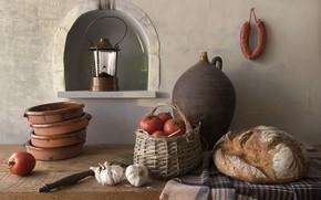 Picture bread, lantern, pitcher, still life, basket, tomatoes, sausage, garlic