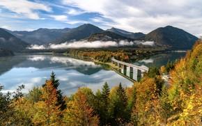 Picture autumn, trees, mountains, bridge, lake, Germany, Bayern, Germany, Bavaria, Bavarian Alps, The Bavarian Alps, reservoir, …