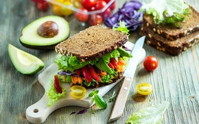 Picture pepper, sandwich, vegetables, tomatoes, salad, avocado