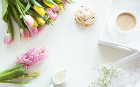 Picture flowers, coffee, tulips, cake