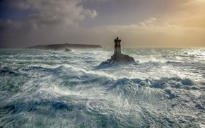 Picture sea, wave, shore, lighthouse
