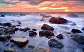 Picture sand, sea, wave, beach, summer, the sky, sunset, stones, shore, summer, beach, sea, sunset, seascape, …