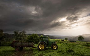 Picture clouds, the trailer, green, tractor, mountains, fog, trees, the slopes, the storm, haze, technique, greens, …