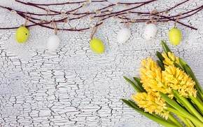 Picture flowers, eggs, colorful, Easter, happy, yellow, wood, Verba, flowers, Easter, eggs, decoration, hyacinth
