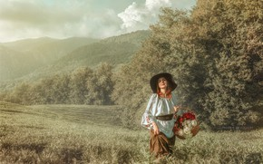 Picture field, look, girl, flowers, nature, hills, basket, Andrey Volodin