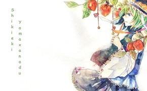 Picture hat, priestess, green hair, art, in profile, Touhou Project, watercolor painting, Project East, Shikieiki Yamaxanadu, …