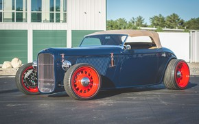 Picture Hot Rod, Convertible, Custom, Vehicle, Red wheels