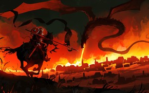 Picture The city, Dragon, Warrior, Fantasy, Art, Knight, Fiction, Concept Art, Attack, Creatures, Courage, Dominik Mayer, …