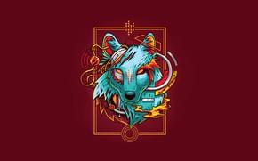 Picture Fantasy, Art, Vector, Wolf, Background, Illustration, Minimalism, Angga Tantama, Electric wolf