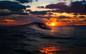 Picture sea, clouds, sunset, photo, wave