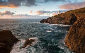 Picture sea, rocks, coast, lighthouse