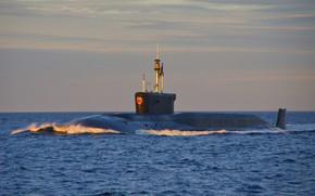 Picture underwater, cruiser, atomic, rocket, Vladimir Monomakh