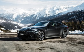 Picture snow, mountains, BMW, sports coupe, M4 Coupe, 2021, M4 Coupe