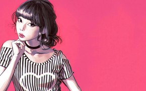 Picture haircut, sponge, heart, pink background, bangs, portrait of a girl, Ilya Kuvshinov, striped shirt, chalker, …