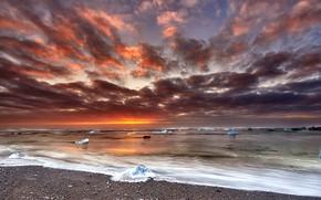 Picture seascape, sunrise, iceland, Floating Diamonds