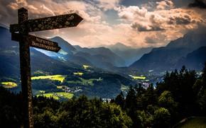 Picture landscape, mountains, clouds, nature, the city, Germany, Bayern, Alps, index, Berchtesgaden, Berchtesgaden