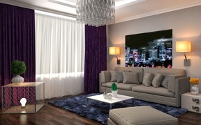 Picture design, style, sofa, interior, picture, chandelier, living room, modern