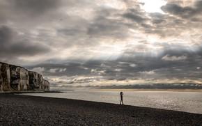 Picture sea, beach, the sky, girl, clouds, birds, stones, rocks, coast, horizon, rays of light