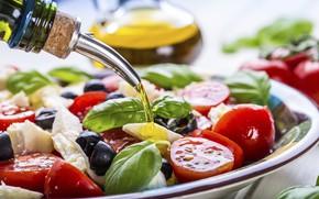Picture oil, tomatoes, salad, olives, Greek, Basil, feta