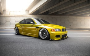 Wallpaper BMW, Classic, Yellow, E46, Phoenix, Wheels, Widebody, CCW, Pandem, 3 Piece