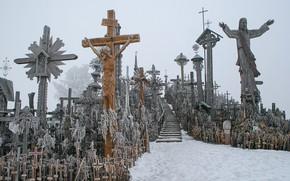 Picture winter, Lithuania, Hill of Crosses, Cross mountain, Šiauliai raonas