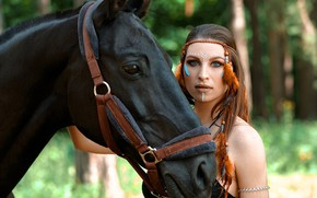 Picture look, girl, face, horse, horse, paint, Vyacheslav Turcan