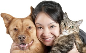 Picture cat, animals, girl, face, smile, portrait, dog, brunette, white background, Asian, muzzle