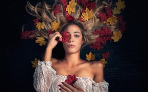 Picture autumn, leaves, girl, background, mood, hair
