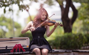 Picture music, girl, dress, photography, violin, Musician, playing, high heels, sitting, red shoes, portrait, musical instrument, ...