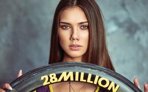 Picture look, background, model, portrait, makeup, wheel, hairstyle, brown hair, bokeh, Saulius Baniulis